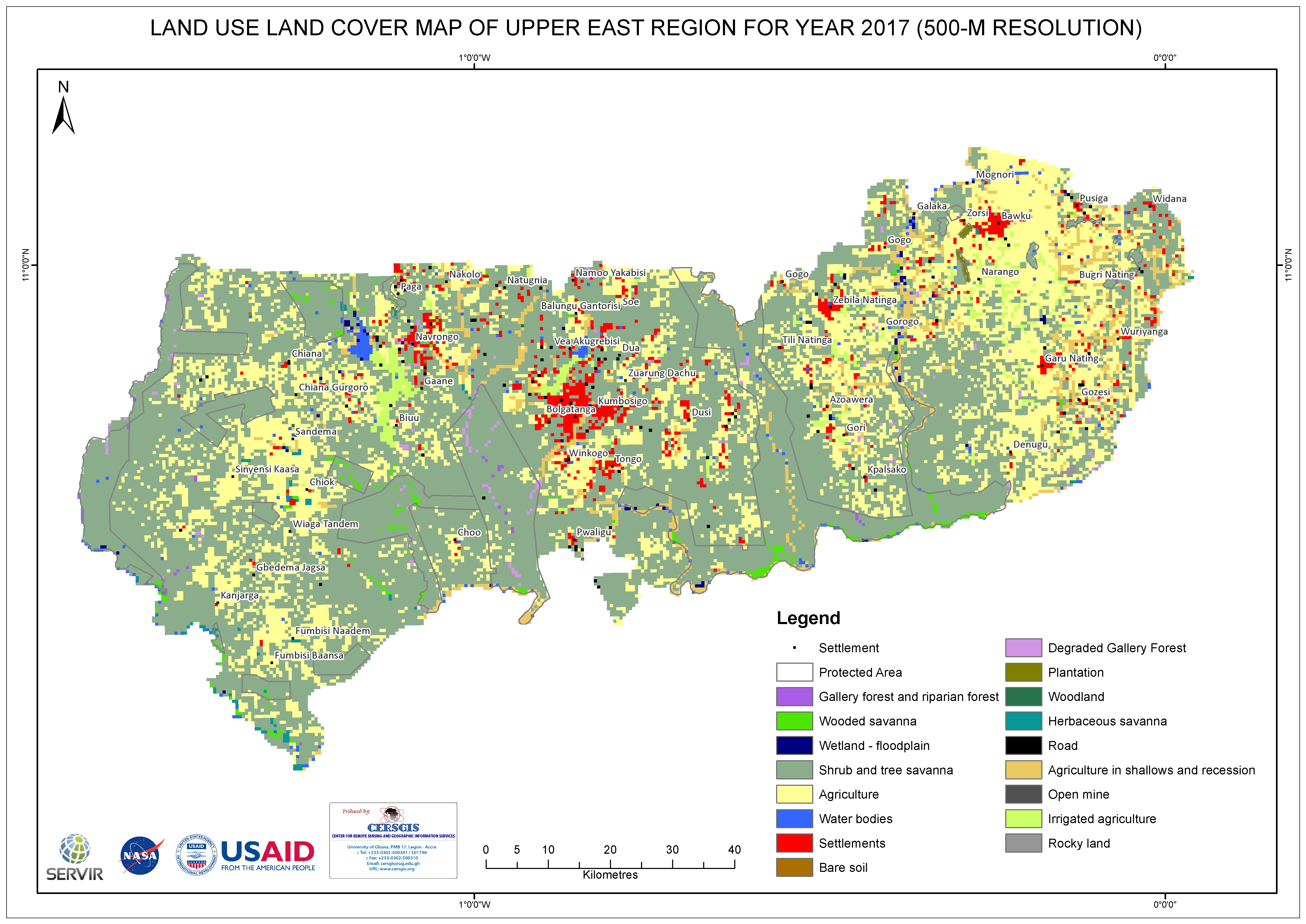 Land Cover Map for Upper East Region