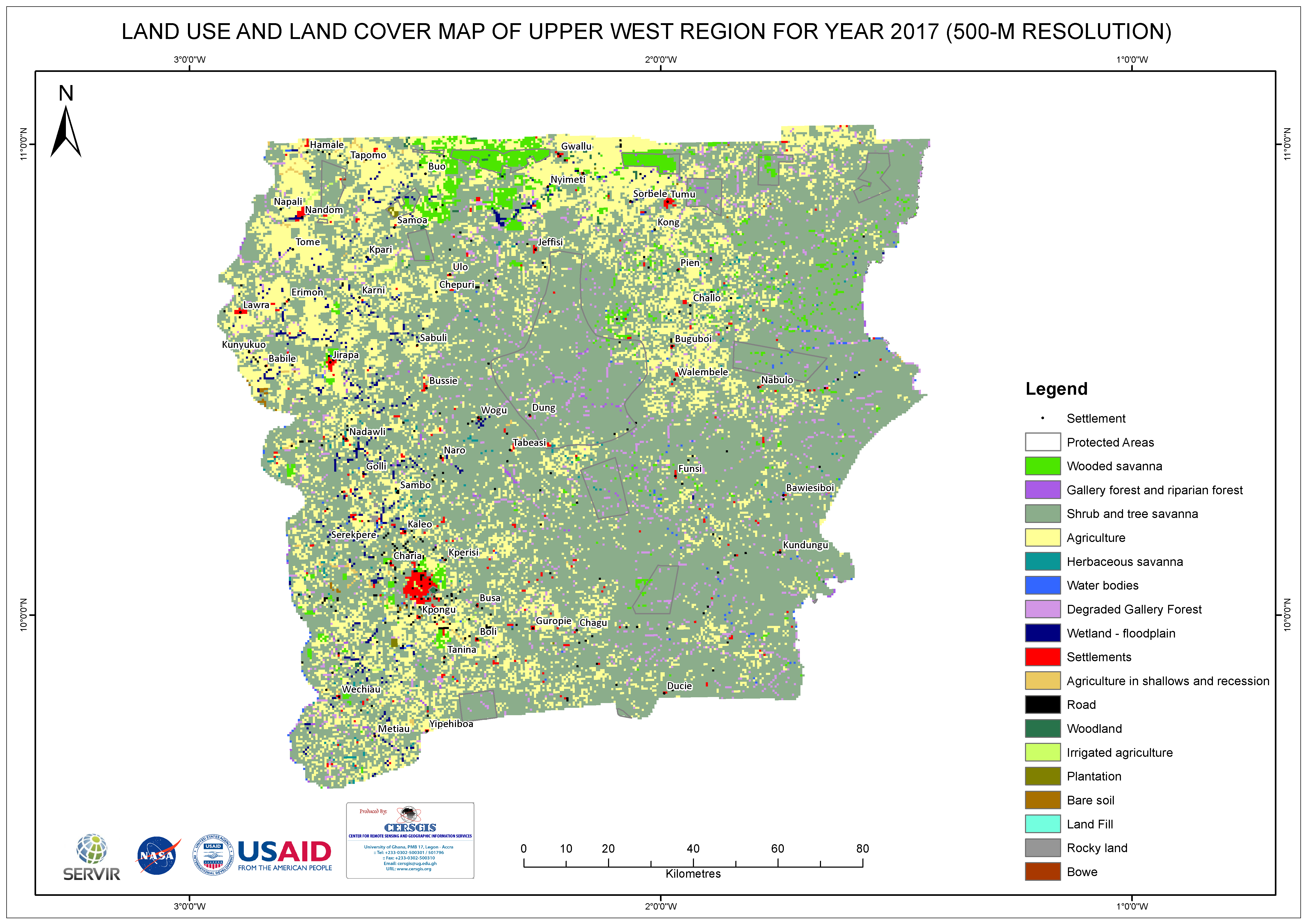 Land Cover Map for Upper West Region